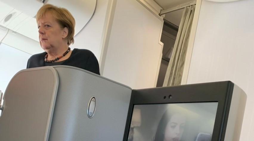 Angela Merkel op Iberia-vlucht