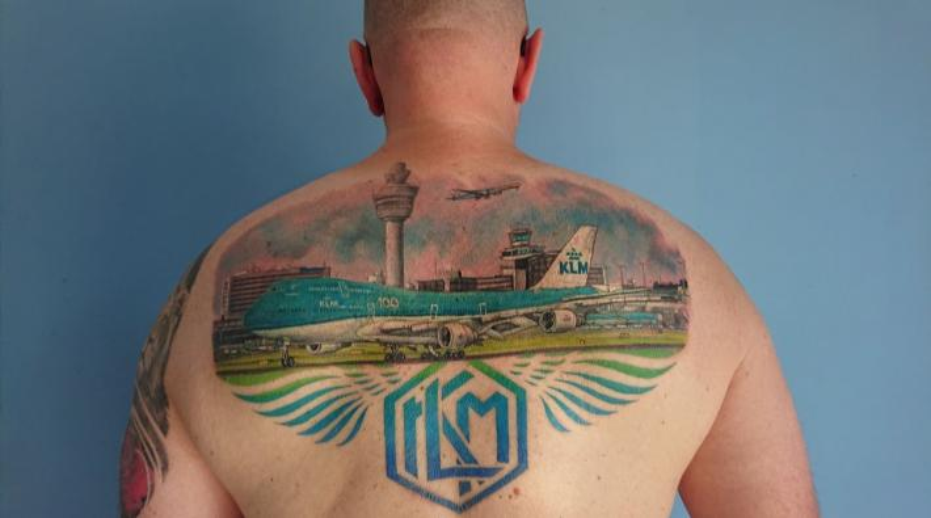 KLM 747 tattoo