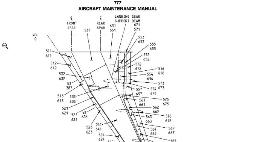 'Nummer op vleugeldeel correspondeert met 777-manual