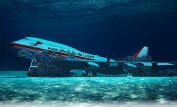 Boeing 747 onderwater Bahrein