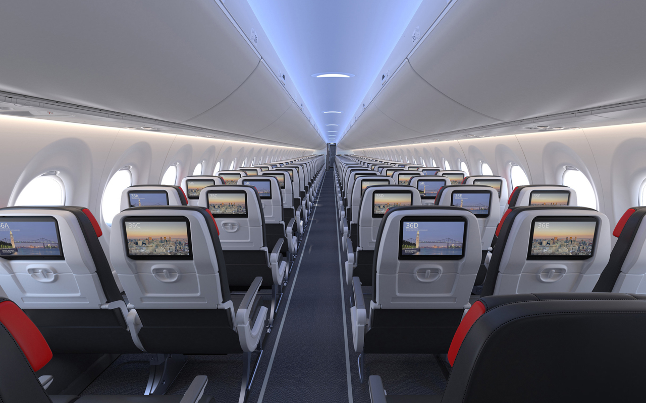 Air Canada A220 cabine