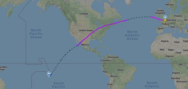 Langste commerciële vlucht Air Tahiti