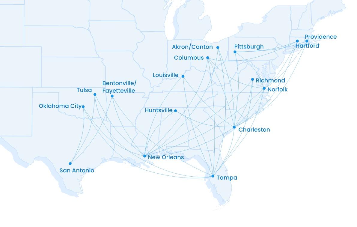 Breeze Airways Netwerk Zomer 2021