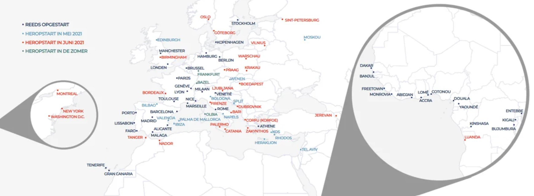 Brussels Airlines Netwerk Zomer 2021
