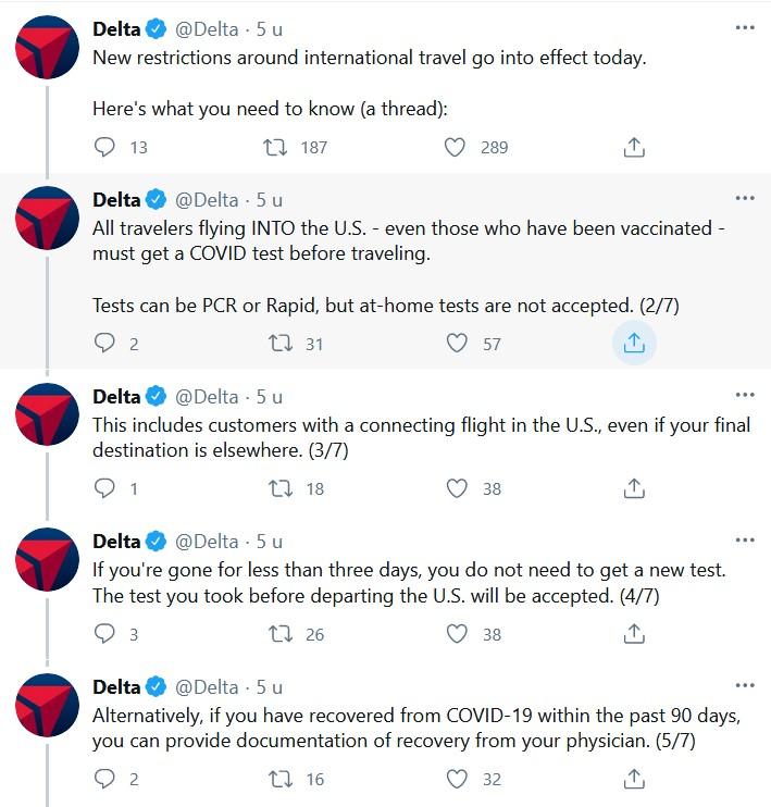 Twitter-draadje Delta coronatest
